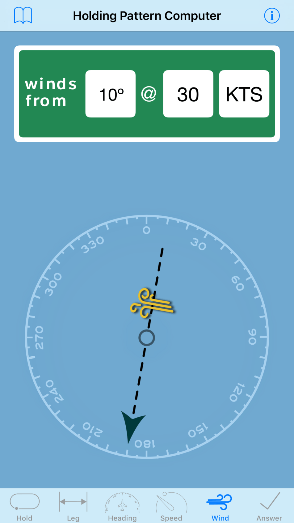 Holding Pattern Computer -Windspeed Tab